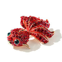 Goldfish Shape Swarovski Crystal Custom Brooch For Women